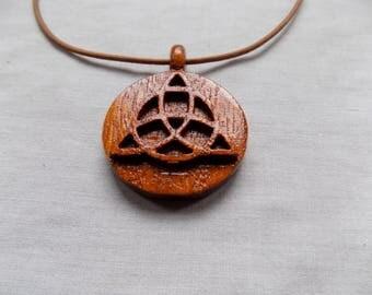 Celtic triquetra wooden pendant