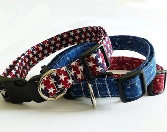 Red Dog Collar Custom Unique Dog Collar Boy Girl Dog Collar Soft Designer Dog Collar USA Fabric Dog Collar Adjustable Preppy Dog Collars
