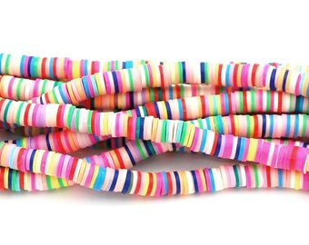 Flat Round Handmade Polymer Clay Bead Spacers, Pastel Bright Assorted Color, 6x1mm