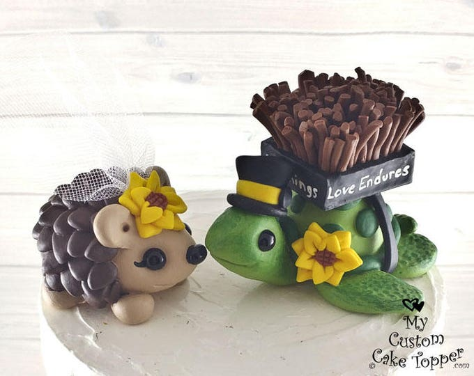 Hedgehog and Turtle Wedding Cake Topper