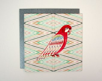 Square Card - Harlequin Parrot