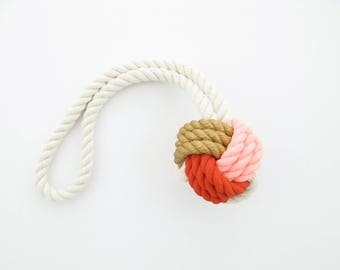 Pink, Orange & Gold Hand-Painted Monkey's Fist Knot - Large