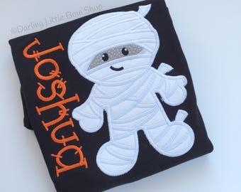 Mummy Boy's Halloween shirt or bodysuit - friendly mummy shirt in black and orange, persoknalized