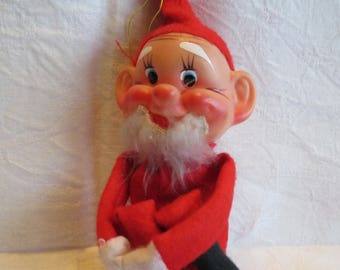 Vintage 60s Knee Hugger Santa Doll Christmas Decoration Red Flannel Japan