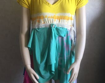 T- shirt upcycled layers, womens tops and tees, refashioned hippie chic, festival wear, artsy fartsy, recycled tunics