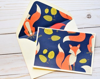 Woodland Foxes Note Cards // Set of 4 // Lined Envelopes // Thank You Card // Blank Card // Love Notes // Thinking of You // Just Because
