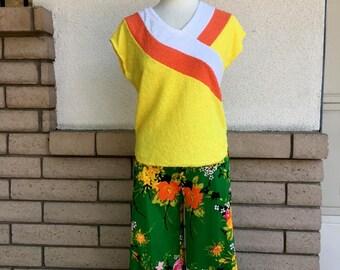 Floral Wide Leg Pants 1970s Green Orange High Waist Flowy Pants Size Medium