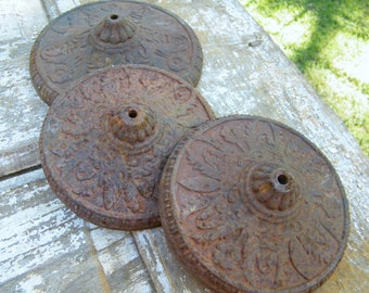 3 Rusty Old Cast Iron Steampunk Industrial Lamp Pedestal Bases Restore Repurpose