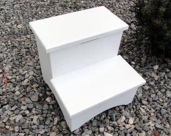 """Storage Box Step Stool 12"""" Finished White"""