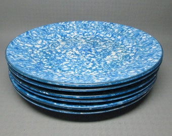 Stangl Town and Country blue spongeware set of 6 dinner plates