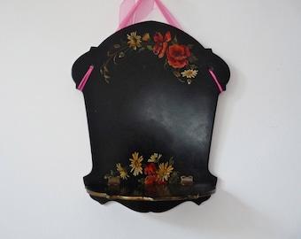 Napoleon III Antique French shelf - Black Paper Mache - lacquer Oriental - Lacquerware