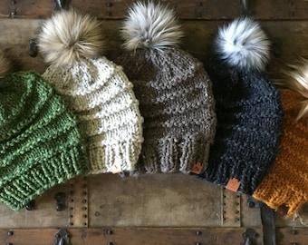 Hand Knit Kaister Beanie Butterscotch Charcoal Spearmint Oatmeal Barley Wool Blend Bulky Yarn Faux Fur Pom Snow Ski Snowboard Hiking Hat