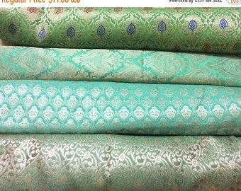 15% off on Bundle/Stack of Turquoise green Indian brocade/set of four fat quarters/perfect for crafting/sewing