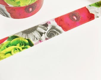 Gorgeous Black and White Floral with Pops of Red and Lime Green Flowers Roses Flower Washi Tape 11 yards 10 meters 15mm