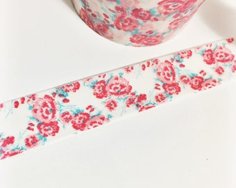 Bright Pink and Aqua Blue Floral Pink Flowers Blue Foliage Floral Washi Tape 11 yards 10 meters 15mm