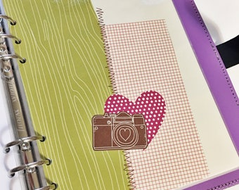 A5 Size Lime Green Red Brown Faux Bois Woodgrain Polka Dot Graph Checkers Camera Love Laminated Dashboard A5 Filofax Large Kikki k Planner