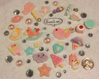 Pondering bird Decoden kit collection pastel tones, rainbow rhinestones kawaii phone case decoration