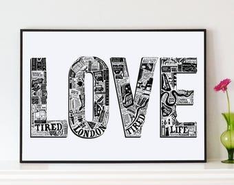 Love London poster         - London artwork - London print - Love art - Valentine - Typographic print -
