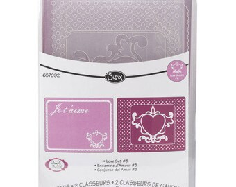 Sizzix Textured Impressions Embossing Folders 2PK - LOVE SET #3