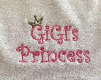 Gigi's Princess Embroidered Bib