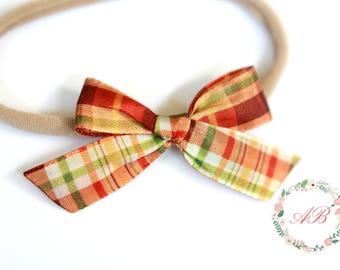 Baby Bow Headband - Fall Bow Headband - Hand Tied Bow Headband - Newborn Bow Headband - Nylon Headband - Plaid Bow Headband