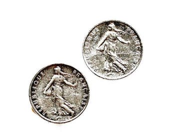 Limited Time Offer France Coin Cufflinks - Men's Jewelry - Handmade - Gift Box Included