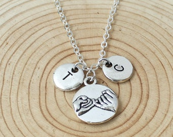 Personalized Initial Necklace Hand in hand,heart to heart, best friend necklace,Boyfriend GirlFriend gift, Christmas gifts,Couples gift