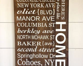Large Wood Sign - No Place Like Home - Street Names - Subway Sign