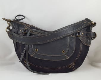 Fossil Black Canvas Hobo Style Shoulder Bag Leather Trim Brass and Buckles