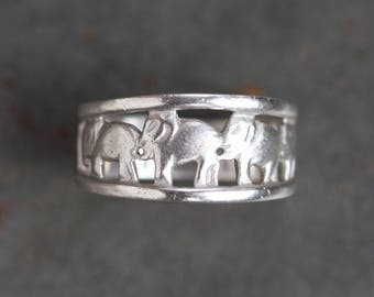 Row of Elephants Ring - Sterling Silver - Ring Size 10