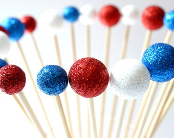 Sparkle Drink Stirrers, Fourth of July, Red White Blue, Independence Day