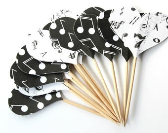 Music Note Heart Cupcake Toppers - Birthday Party - Music Lover - Set of 12