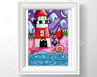 Instant Digital Download Printable Art Print Whimsical Christmas Lighthouse w/Mountains & Moon Painting Home Wall Decor