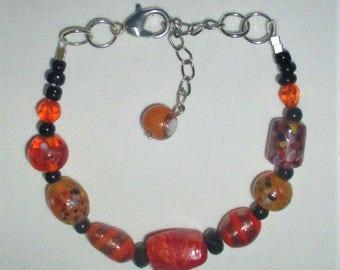 Fall Colors Lampwork Glass bracelet - OOAK