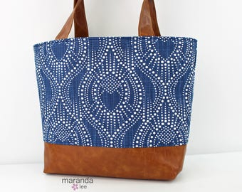 Lulu Large Tote in Alyssa Blue and PU Leather  6 pockets Nappy Work Purse