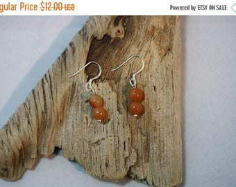 Clearance Sale - Red Aventurine Bead Sterling Silver Earrings - Item 628