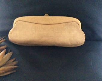 Vintage MM De Pinna Tan Linen Clutch Bag, Vintage Summer Linen Purse, Wedding Clutch Purse, Bridal Clutch Purse