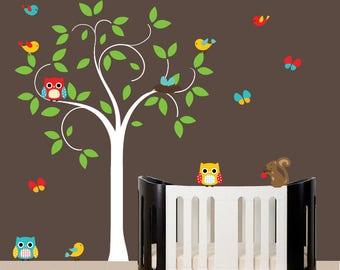 Wall decal tree nursery wall art white tree wall sticker