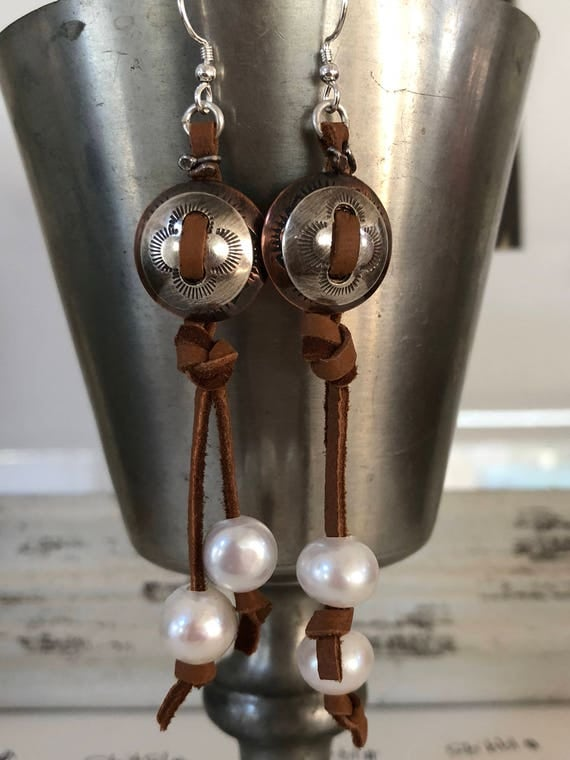 Handmade Sterling Silver, Copper, Freshwater Pearl Earrings, Dangle Earrings, Southwestern Jewelry, Boho Chic, Leather Earrings