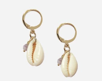 Cowrie gold plated earrings