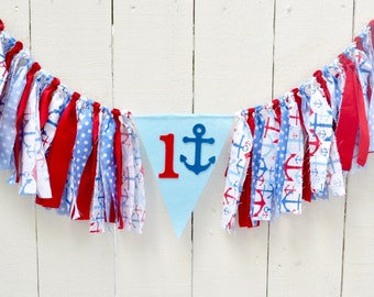 Nautical Birthday Banner - birthday decor - birthday banner - nautical 1st birthday - nautical 1st birthday banner - boy birthday banner