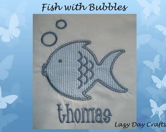 Fish with Bubbles - Short Sleeve Appliqued Tshirt - Infant and Toddler Size Tshirt - 6 months to 5/6