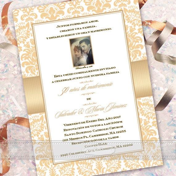 50th wedding anniversary invitation, Spanish anniversary invitation, anniversary party, golden anniversary, anniverary party, IN613