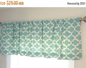 FALL is COMING SALE Curtain Valance Topper Window Valance Treatment Red Navy Yellow Village Blue Fulton Geometric 15x52