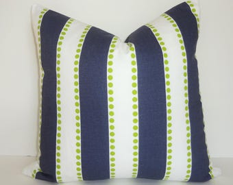 Navy White Lime Chartreuse Stripe Dot Pillow Cover Home Decor by HomeLiving Throw Pillow Cover Choose Size