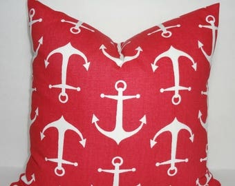 SPRING FORWARD SALE New Red & White Anchor Pillow Cover Red Anchor Nautical Pillow Cover All Sizes