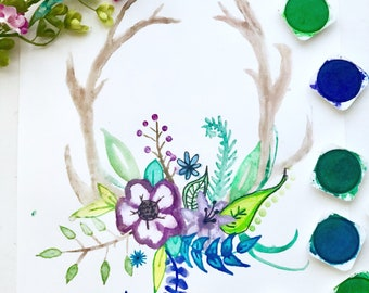 Watercolor antlers and  flowers art