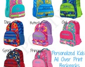 Personalized Kids Backpack / Monogrammed kids backpack / Girls backpack / boys backpack / All Over style backpack