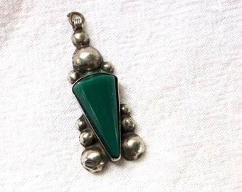 Antique Mexican Pendant Vintage Art Deco Sterling Silver Green Cone Statement Jewelry