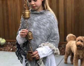 Asymmetric knitted summer poncho, knitted girls poncho